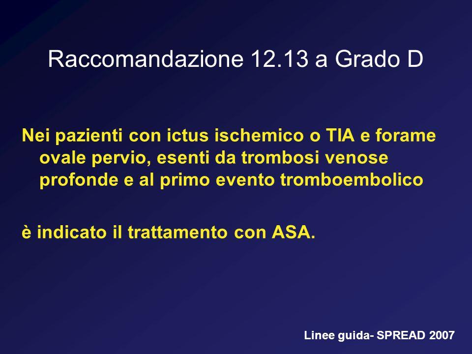 Raccomandazione 12.13 a Grado D