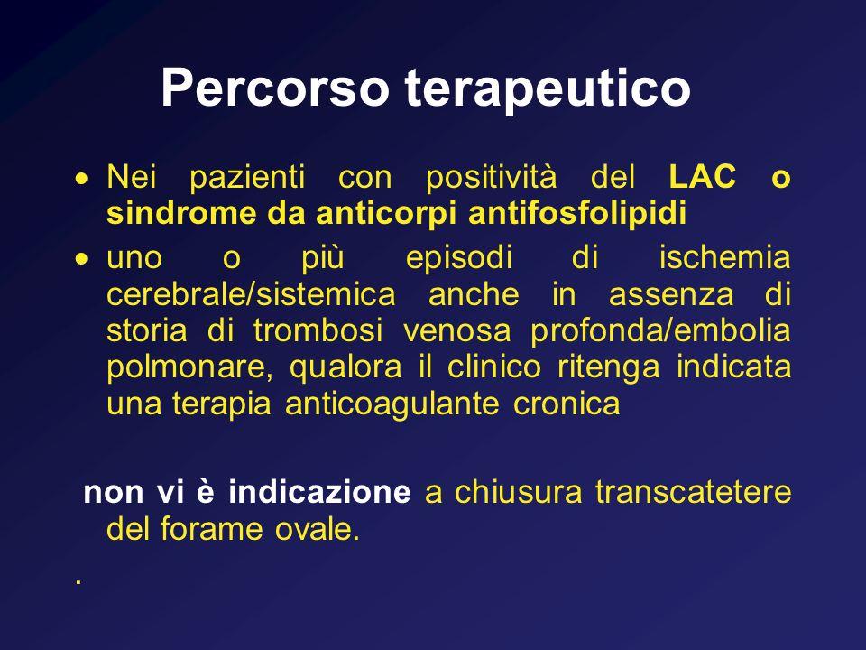 Percorso terapeutico Nei pazienti con positività del LAC o sindrome da anticorpi antifosfolipidi.