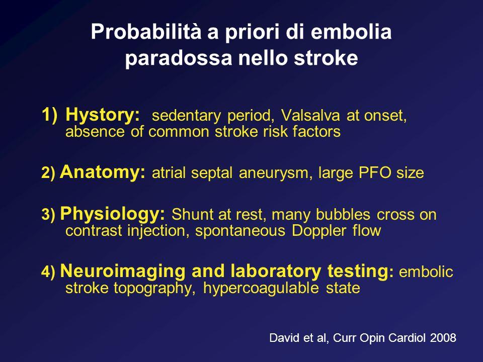 Probabilità a priori di embolia paradossa nello stroke