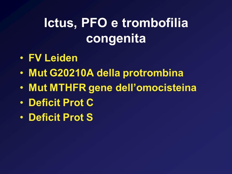 Ictus, PFO e trombofilia congenita