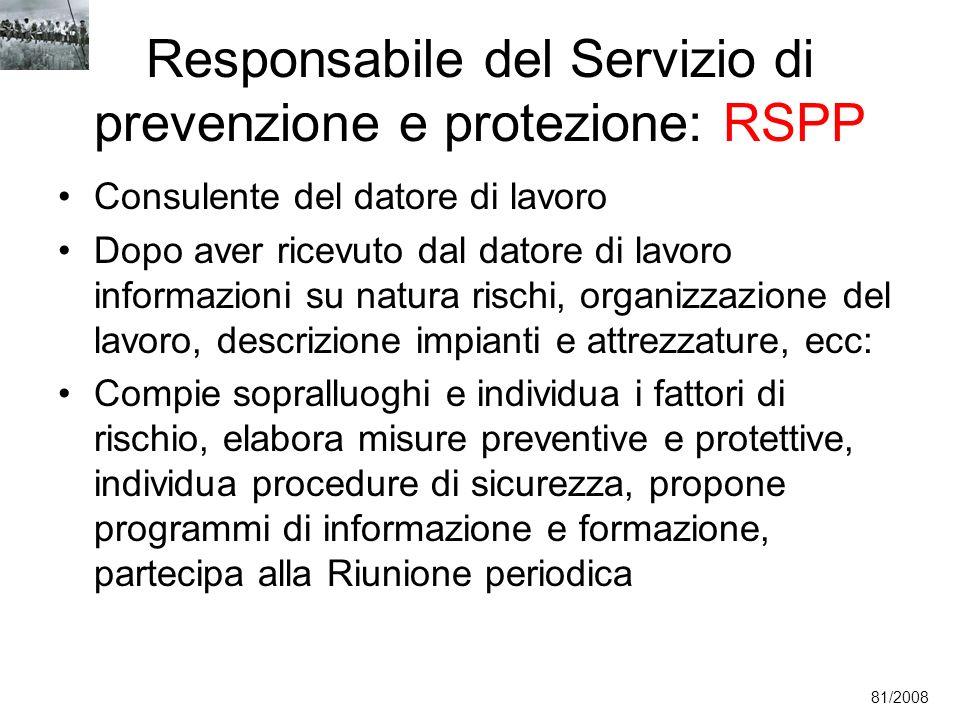 Responsabile del Servizio di prevenzione e protezione: RSPP