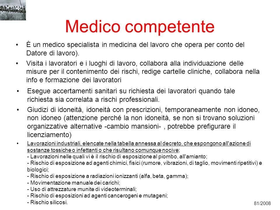 Medico competente È un medico specialista in medicina del lavoro che opera per conto del Datore di lavoro).