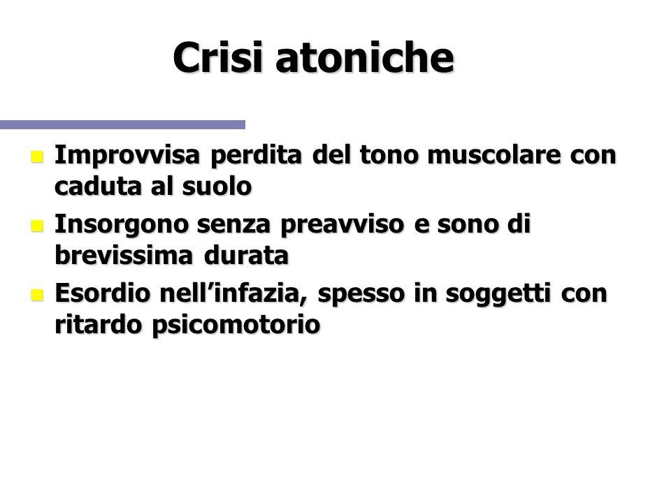 Crisi atoniche Improvvisa perdita del tono muscolare con caduta al suolo. Insorgono senza preavviso e sono di brevissima durata.