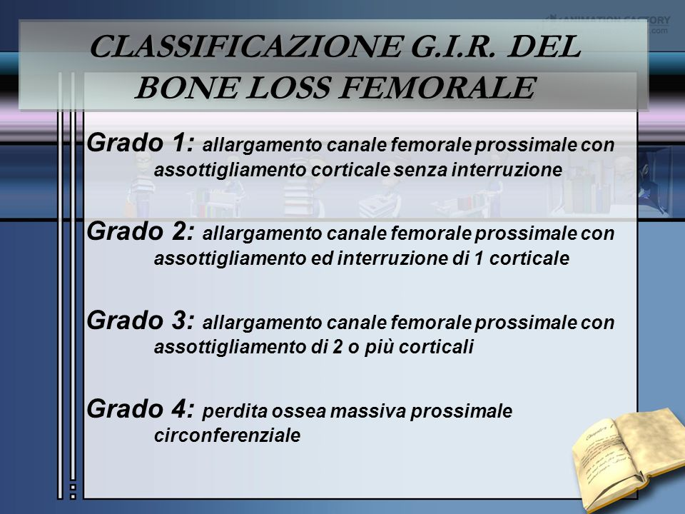 CLASSIFICAZIONE G.I.R. DEL BONE LOSS FEMORALE
