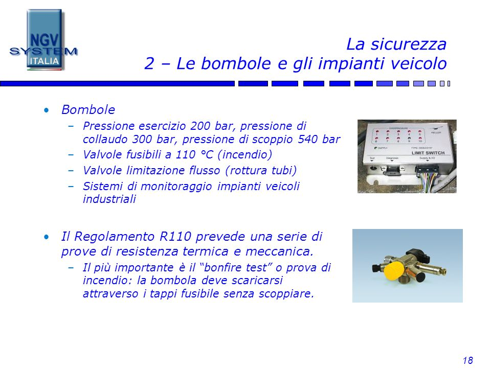La sicurezza 2 – Le bombole e gli impianti veicolo
