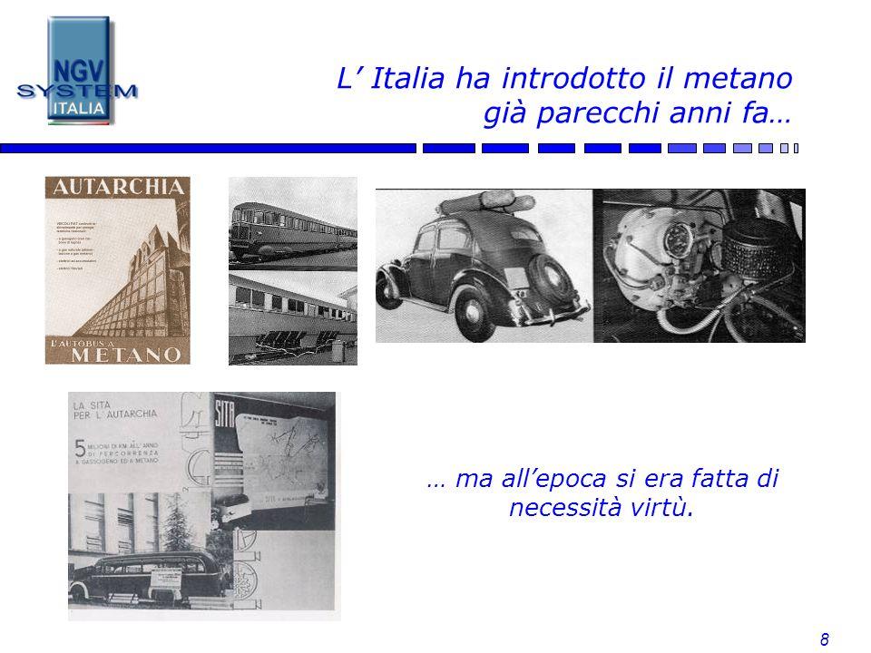 L' Italia ha introdotto il metano già parecchi anni fa…