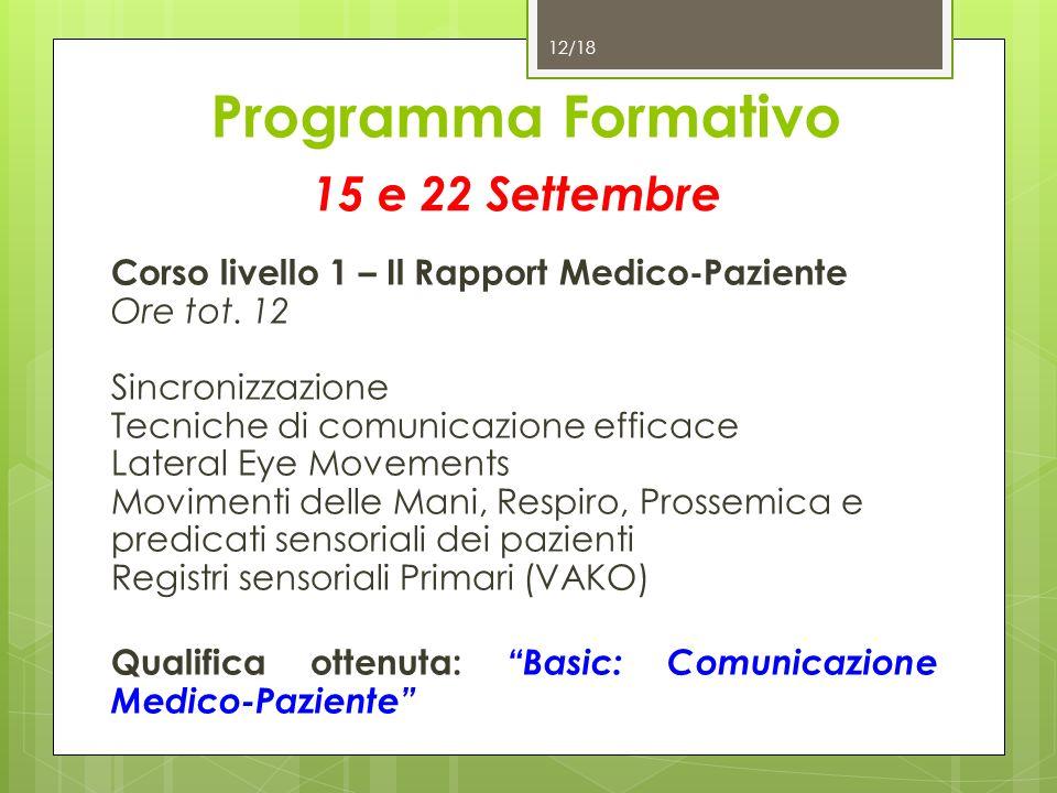 Programma Formativo 15 e 22 Settembre