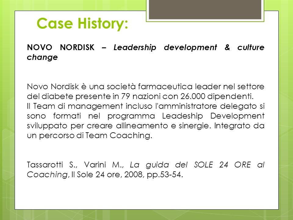 Case History: NOVO NORDISK – Leadership development & culture change