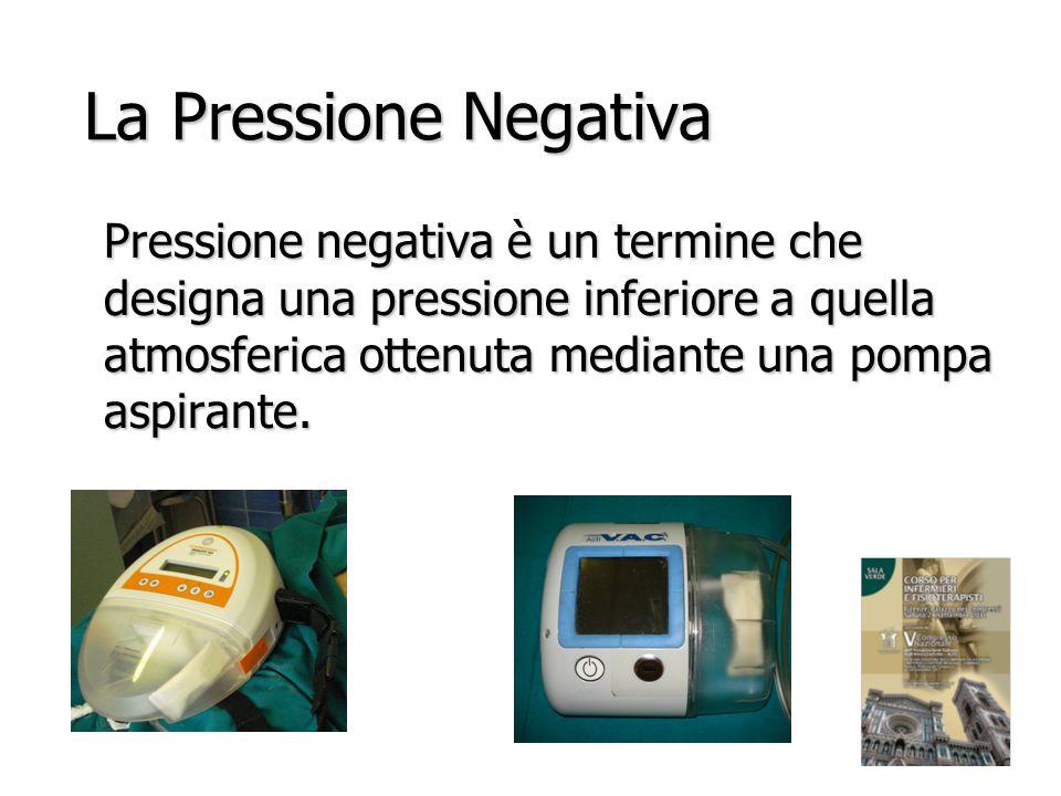 La Pressione Negativa Pressione negativa è un termine che designa una pressione inferiore a quella atmosferica ottenuta mediante una pompa aspirante.