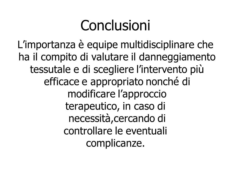Conclusioni L'importanza è equipe multidisciplinare che