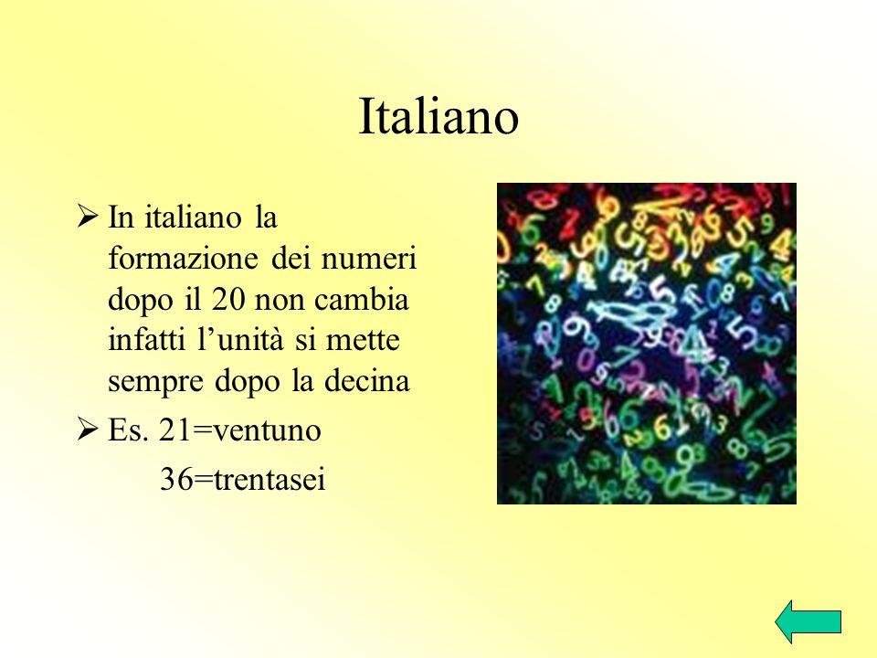 Italiano In italiano la formazione dei numeri dopo il 20 non cambia infatti l'unità si mette sempre dopo la decina.