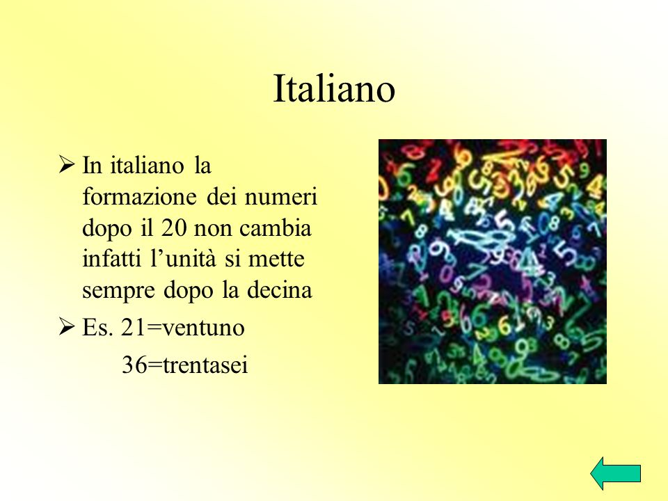 ItalianoIn italiano la formazione dei numeri dopo il 20 non cambia infatti l'unità si mette sempre dopo la decina.