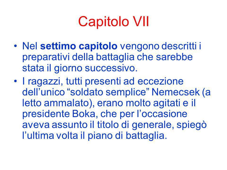 Capitolo VII Nel settimo capitolo vengono descritti i preparativi della battaglia che sarebbe stata il giorno successivo.