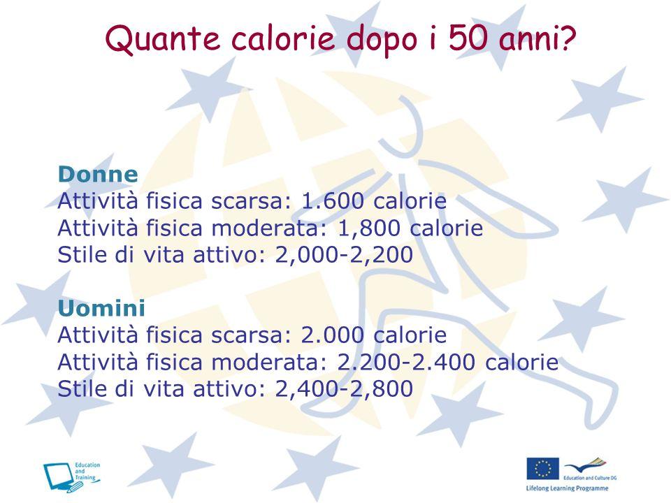 Quante calorie dopo i 50 anni