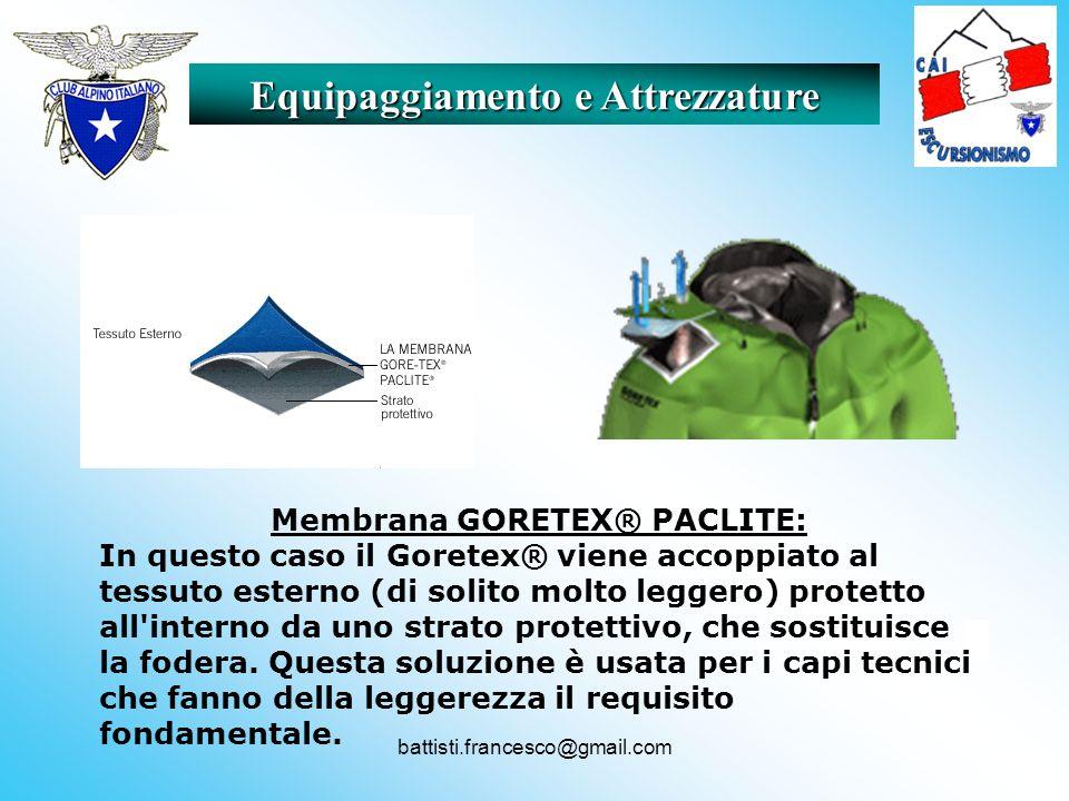 Equipaggiamento e Attrezzature Membrana GORETEX® PACLITE:
