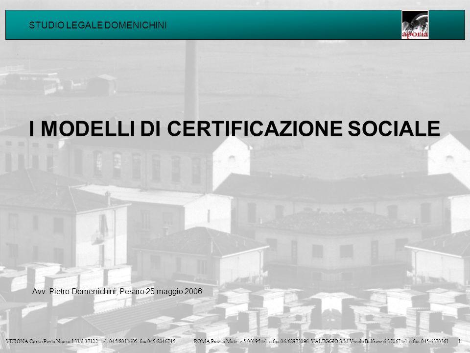 I MODELLI DI CERTIFICAZIONE SOCIALE