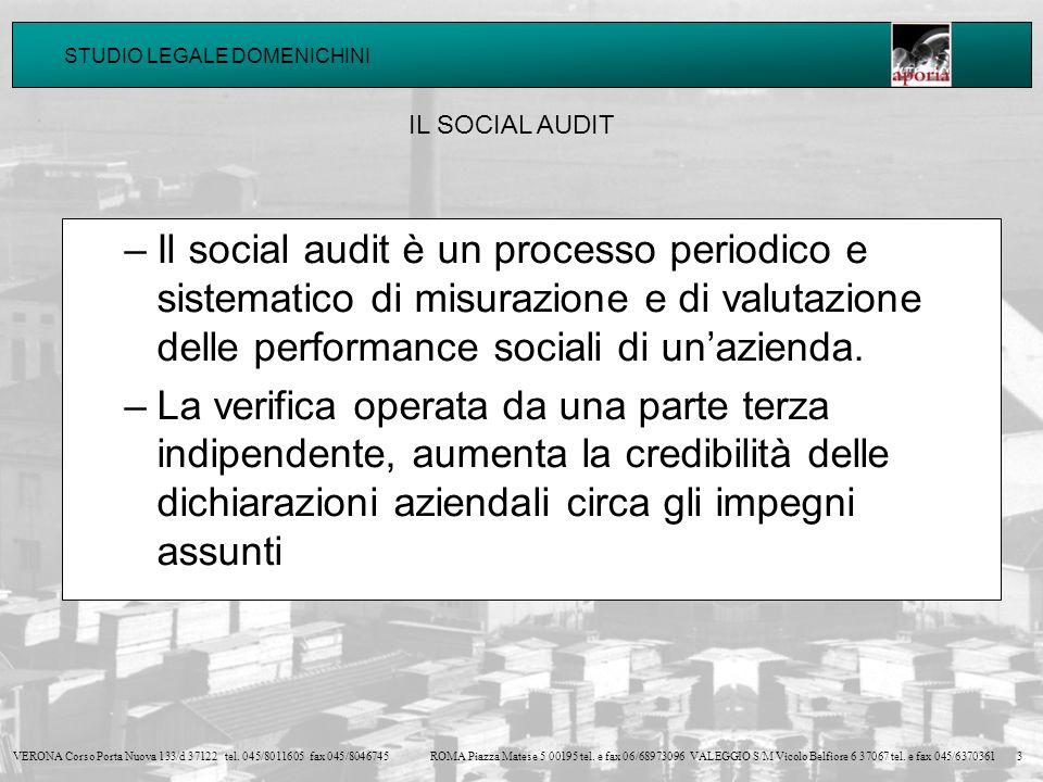 IL SOCIAL AUDIT Il social audit è un processo periodico e sistematico di misurazione e di valutazione delle performance sociali di un'azienda.
