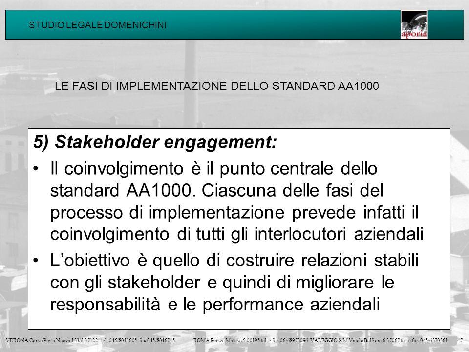 5) Stakeholder engagement: