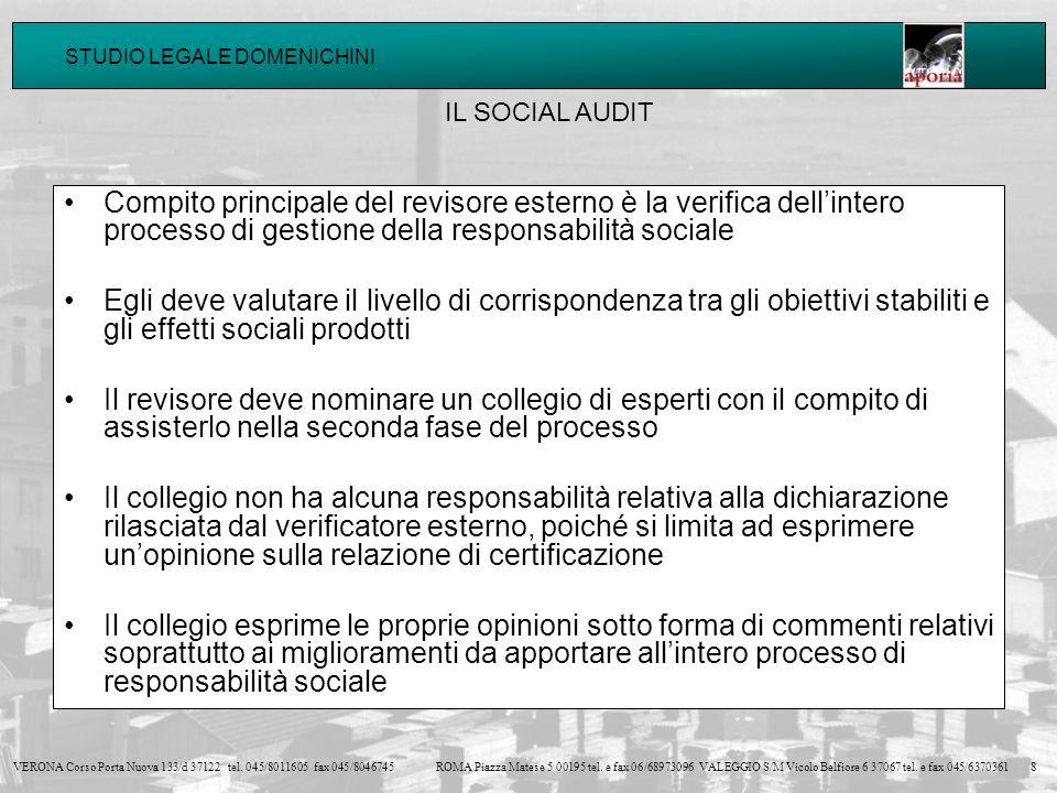 IL SOCIAL AUDIT Compito principale del revisore esterno è la verifica dell'intero processo di gestione della responsabilità sociale.