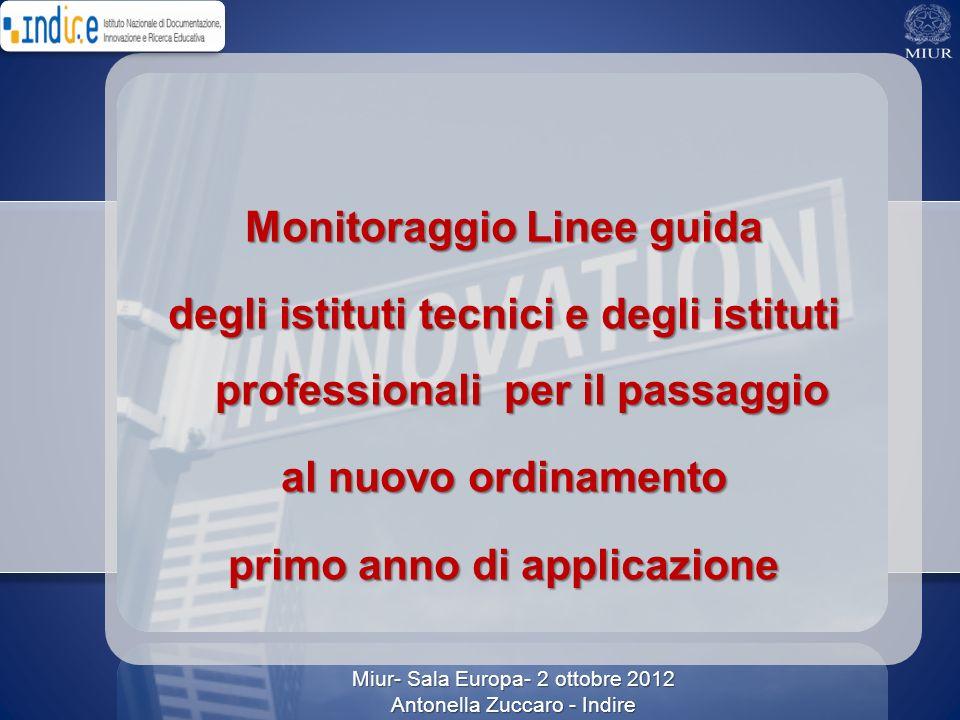 Monitoraggio Linee guida degli istituti tecnici e degli istituti professionali per il passaggio al nuovo ordinamento primo anno di applicazione