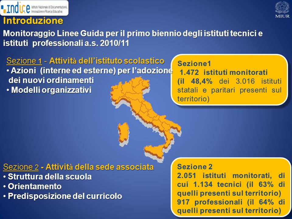 Introduzione Monitoraggio Linee Guida per il primo biennio degli istituti tecnici e istituti professionali a.s. 2010/11.