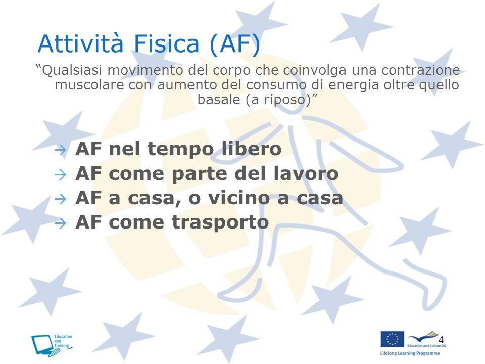 Attività Fisica (AF) AF nel tempo libero AF come parte del lavoro