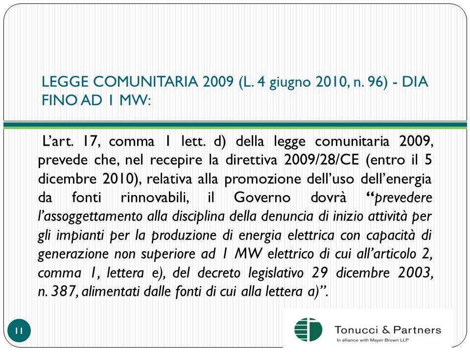 LEGGE COMUNITARIA 2009 (L. 4 giugno 2010, n. 96) - DIA FINO AD 1 MW: