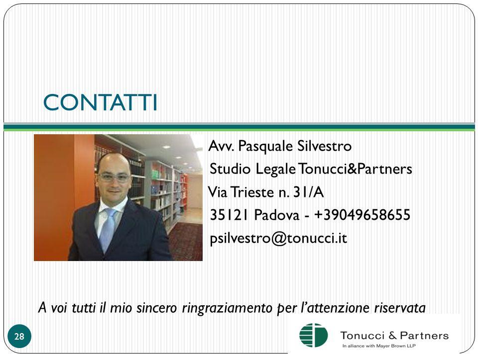CONTATTI Avv. Pasquale Silvestro Studio Legale Tonucci&Partners