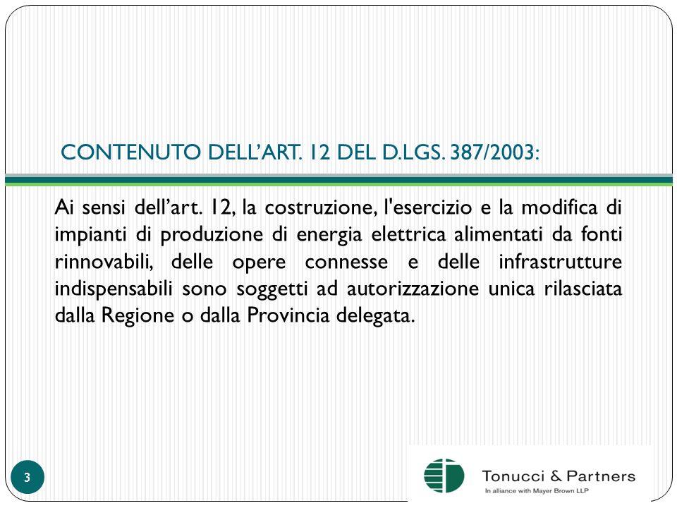 CONTENUTO DELL'ART. 12 DEL D.LGS. 387/2003: