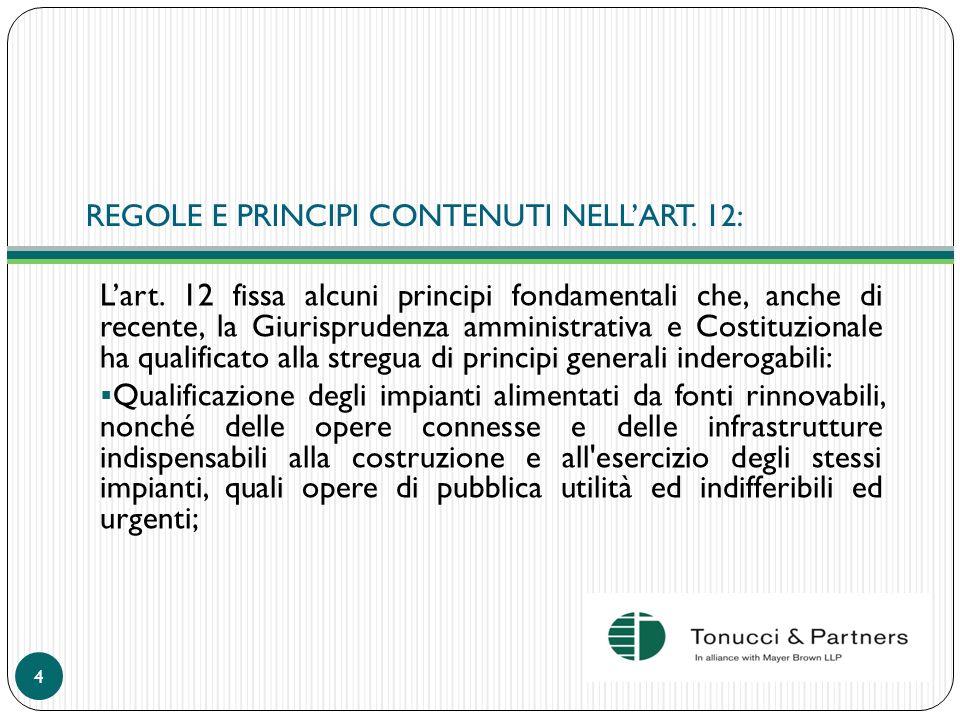 REGOLE E PRINCIPI CONTENUTI NELL'ART. 12: