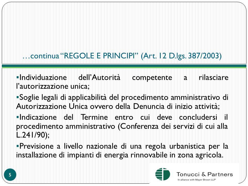 …continua REGOLE E PRINCIPI (Art. 12 D.lgs. 387/2003)