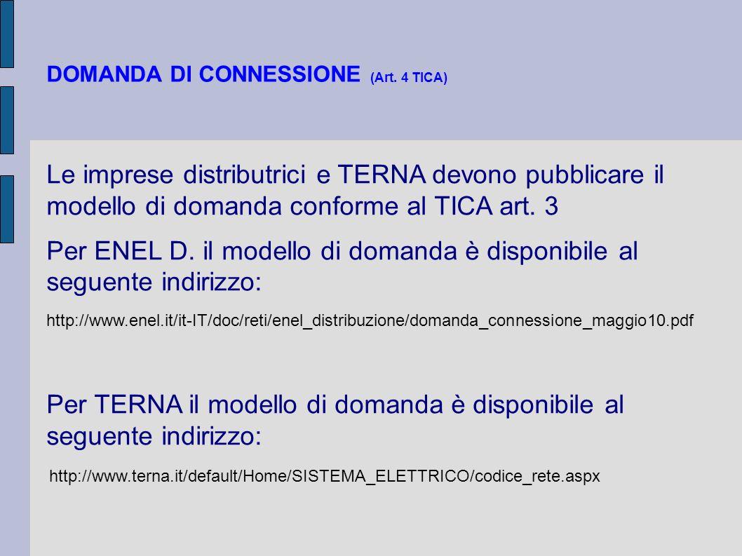 DOMANDA DI CONNESSIONE (Art. 4 TICA)