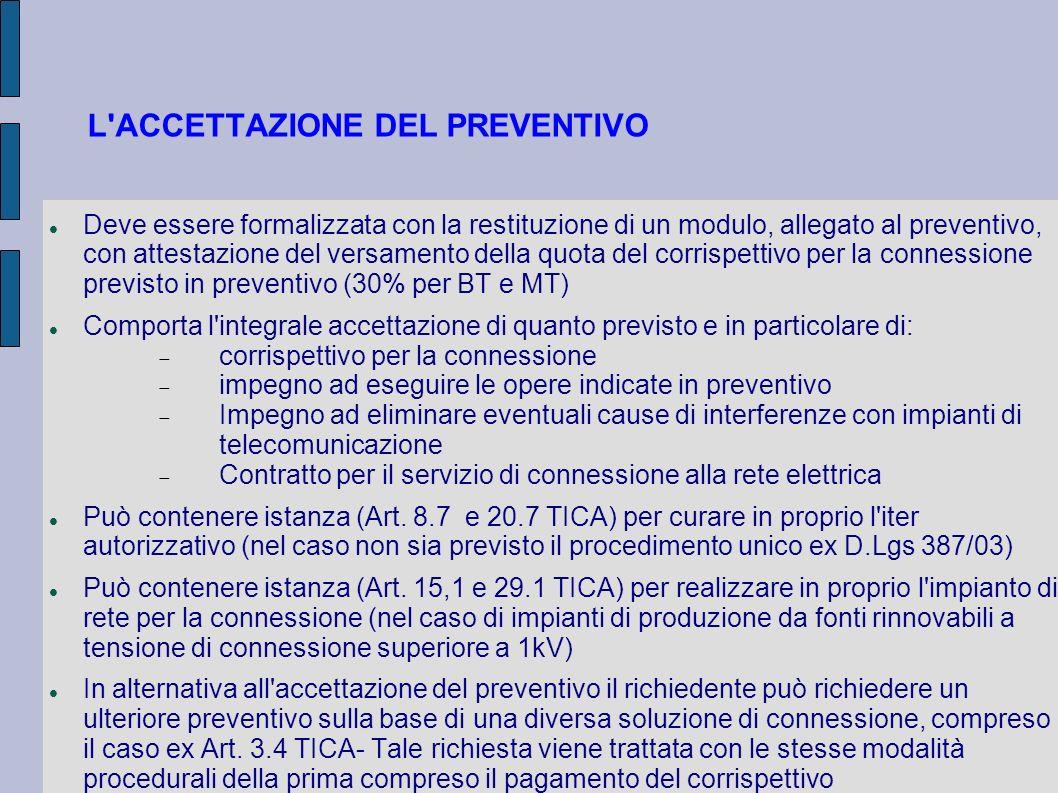 L ACCETTAZIONE DEL PREVENTIVO