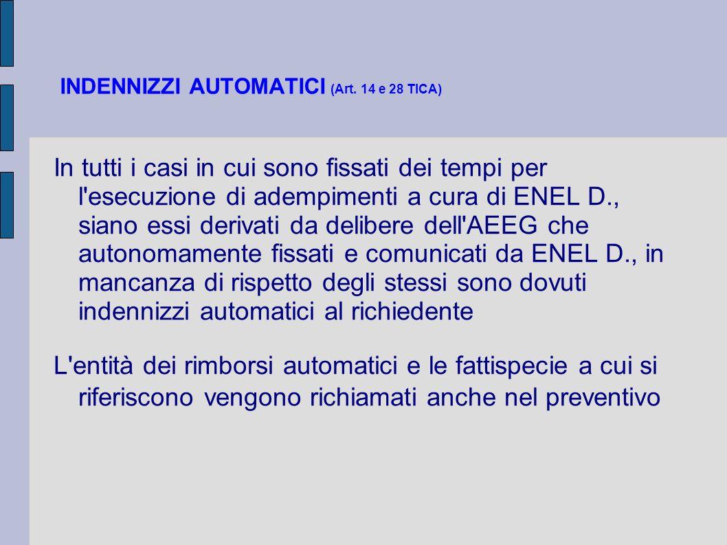 INDENNIZZI AUTOMATICI (Art. 14 e 28 TICA)