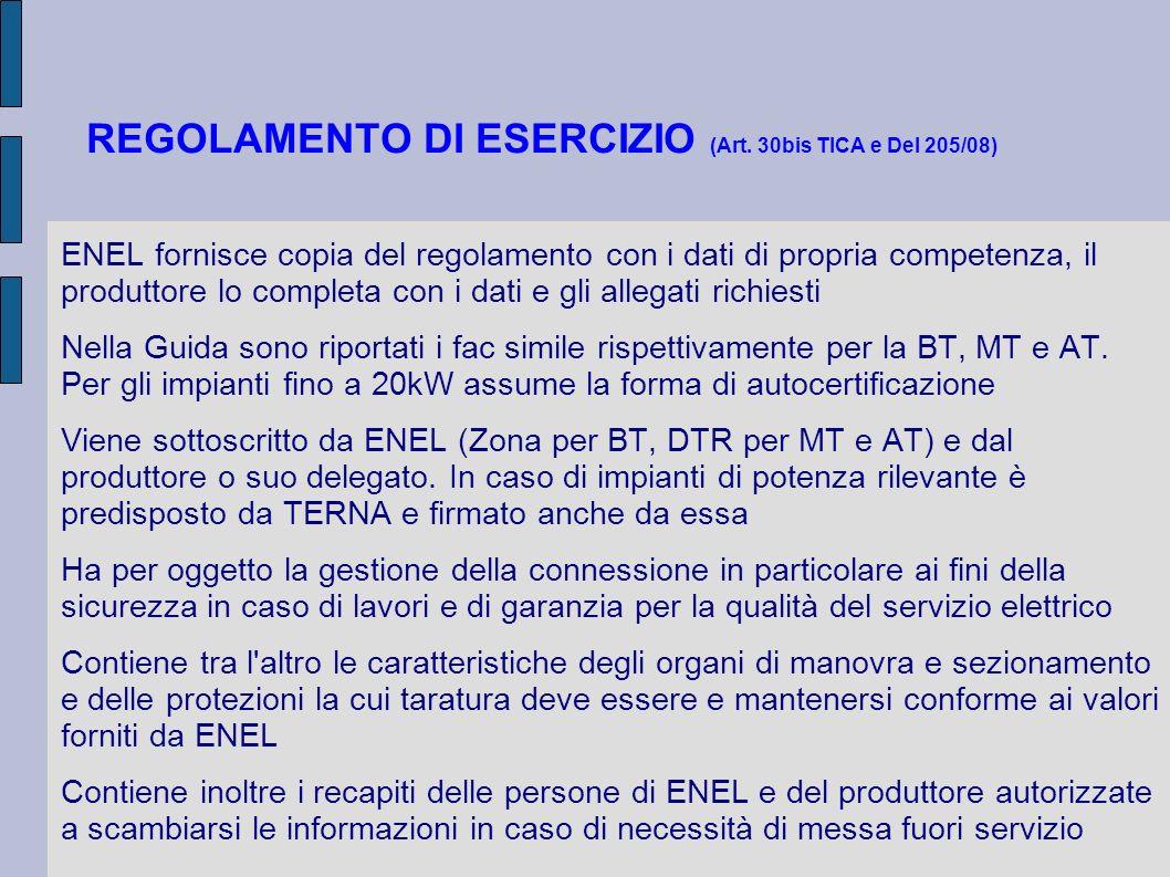 REGOLAMENTO DI ESERCIZIO (Art. 30bis TICA e Del 205/08)