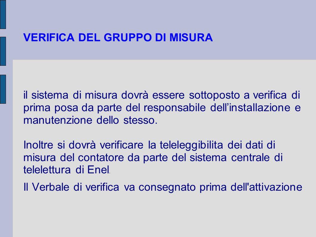 VERIFICA DEL GRUPPO DI MISURA