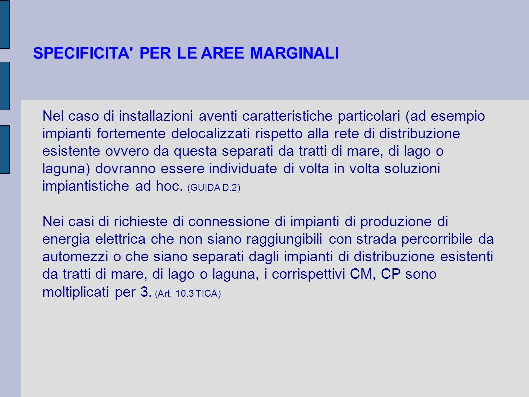 SPECIFICITA PER LE AREE MARGINALI