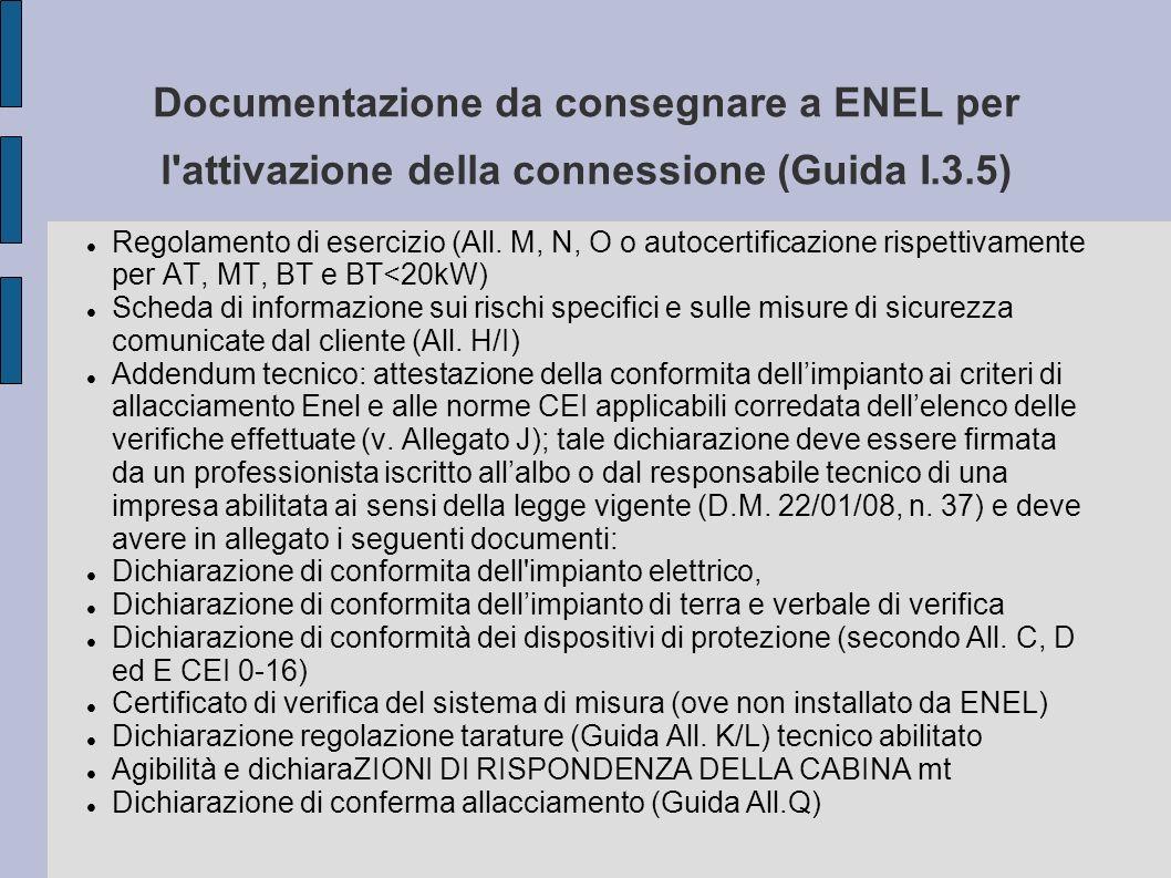 Documentazione da consegnare a ENEL per l attivazione della connessione (Guida I.3.5)