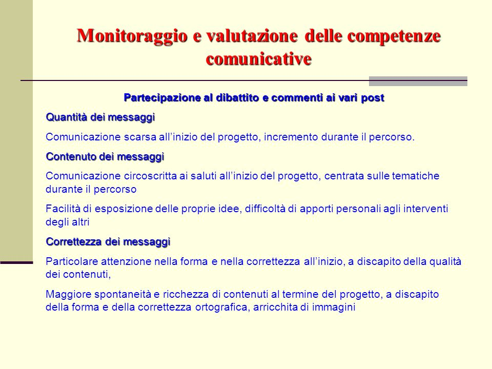 Monitoraggio e valutazione delle competenze comunicative
