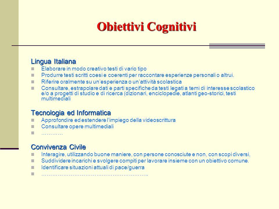 Obiettivi Cognitivi Lingua Italiana Tecnologia ed Informatica