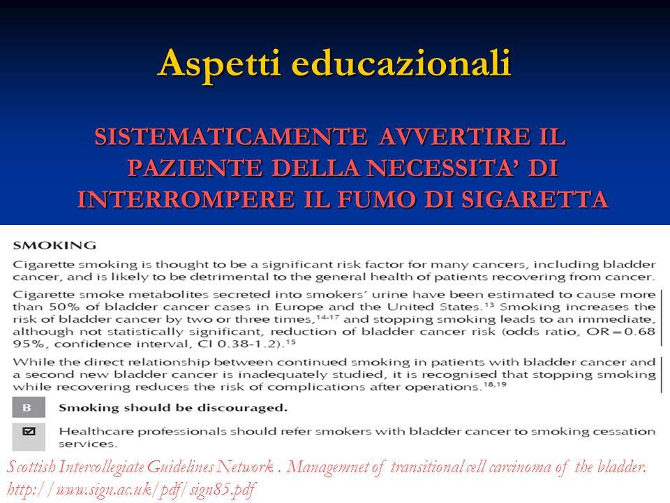 Aspetti educazionali SISTEMATICAMENTE AVVERTIRE IL PAZIENTE DELLA NECESSITA' DI INTERROMPERE IL FUMO DI SIGARETTA.