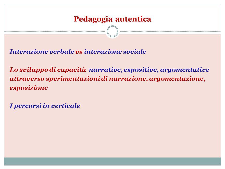 Pedagogia autentica Interazione verbale vs interazione sociale