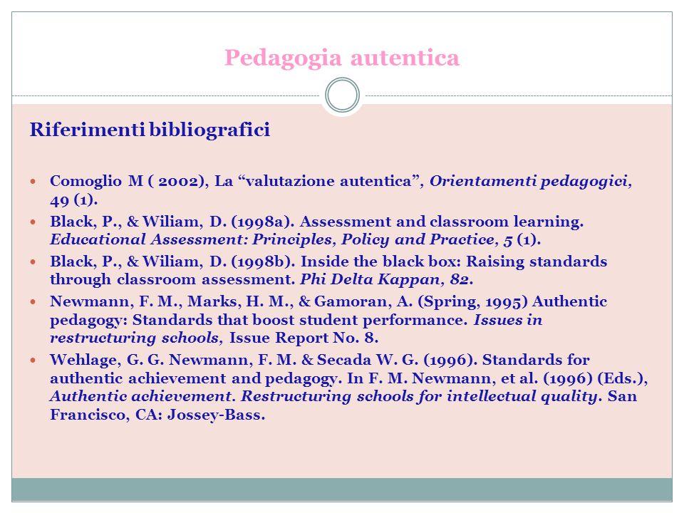 Pedagogia autentica Riferimenti bibliografici