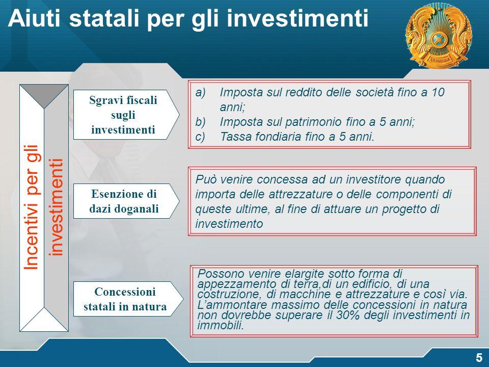 Sgravi fiscali sugli investimenti Concessioni statali in natura