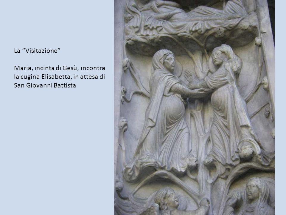La Visitazione Maria, incinta di Gesù, incontra la cugina Elisabetta, in attesa di San Giovanni Battista.