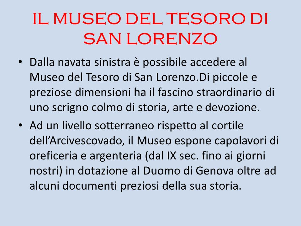 IL MUSEO DEL TESORO DI SAN LORENZO