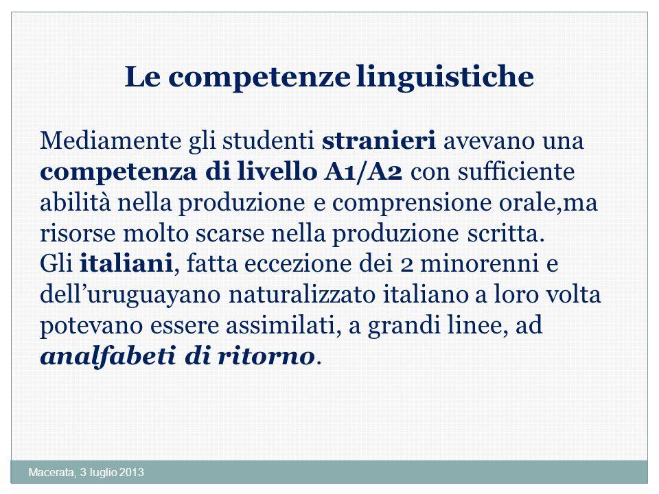 Le competenze linguistiche
