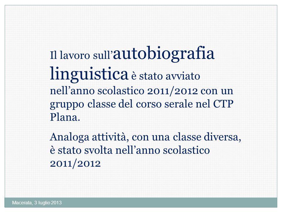 Il lavoro sull'autobiografia linguistica è stato avviato nell'anno scolastico 2011/2012 con un gruppo classe del corso serale nel CTP Plana.