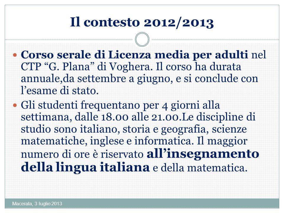 Il contesto 2012/2013
