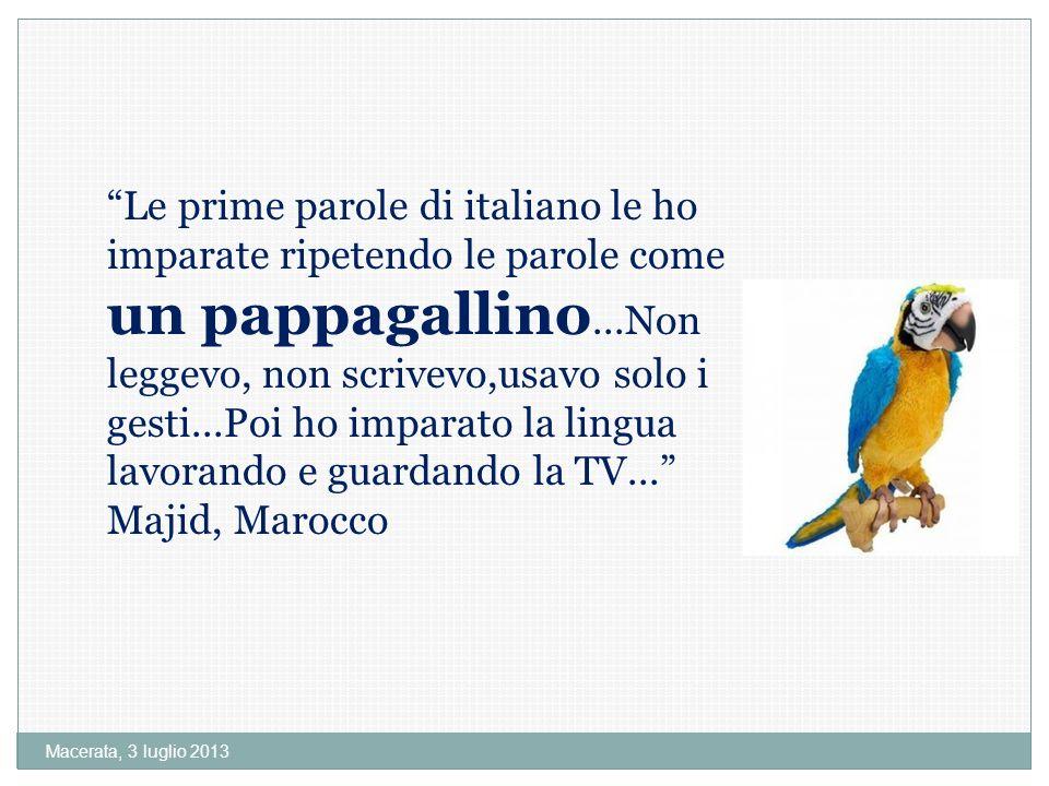 Le prime parole di italiano le ho imparate ripetendo le parole come un pappagallino...Non leggevo, non scrivevo,usavo solo i gesti...Poi ho imparato la lingua lavorando e guardando la TV... Majid, Marocco